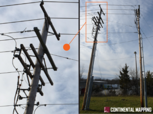 Two images of utility poles; one zoomed out and one with a closer shot.