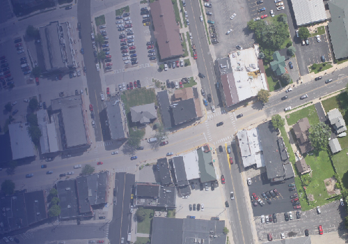 Aerial imagery of downtown Sun Prairie, WI