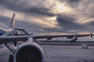 Commercial airplanes on runway