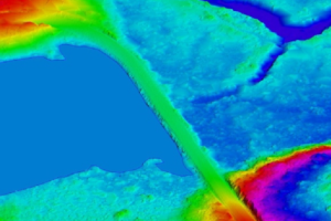 Lidar point cloud visualization of bodies of water and forest in Tualatin Wildlife Preserve, Oregon