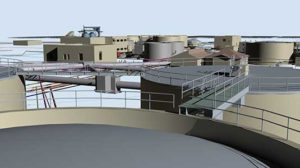 3D rendering derived from CAD/mapping data for wastewater management plant in Las Vegas, NV