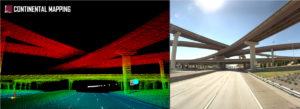 Side by side images of overpasses over a highway stretch (one in lidar point cloud; one in raw imagery)