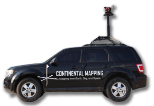 "SUV with Maverick lidar collection technology mounted on top with ""Continental Mapping"" decal on SUV's doors"