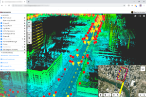 Screenshot of TheGeoAnalyst software visualizing city street with multiple callouts