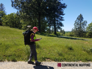 Field crew uses backpack-mounted lidar, the Pegasus, and tablet in field with trees