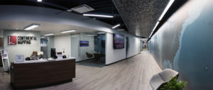 Panoramic shot of lobby and office space at Continental Mapping's headquarters in Sun Prairie, WI