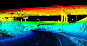 Lidar pont cloud of multiple overpasses over highway with light poles, guardrails, and vegetation