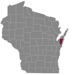 Wisconsin County Map with Kewaunee County Highlighted