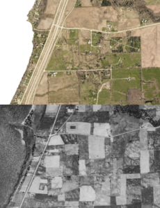 blended 1938 and 2019 aerial imagery in Kewaunee County
