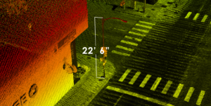 Lidar point cloud with light pole measurement of 22' 6""