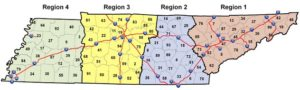 Map of TDOT's four regions across the state (Image courtesy of TDOT)