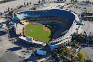 Aerial image of Dodgers Stadium in Los Angeles, CA