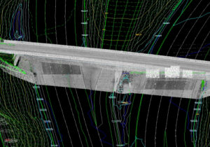 Blended lidar and DTM data visualizing overpass and surrounding highway area in Indiana