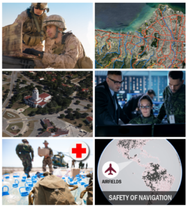 """Grid of images including: US soldiers working off of a field laptop, aerial imagery and data, 3D model of an air force base, soldiers and decision makers in an office working on computer, soldiers unloading water and supplies off of a helicopter, and a collection of airfield icons across the globe with """"Safety of Navigation"""" title"""