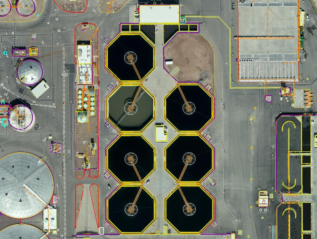 aerial imagery combined with DTM overlay of wastewater management plant in Las Vegas, NV