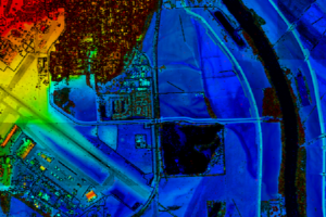 Lidar point cloud of Offutt Air Force Base, Mississippi River, and surrounding area in Missouri