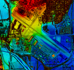 Offutt Airforce Base, the Missouri River, and the surrounding area in aerial lidar point cloud