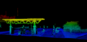 Lidar point cloud visualizing airport entry terminal and road in Nashville, TN