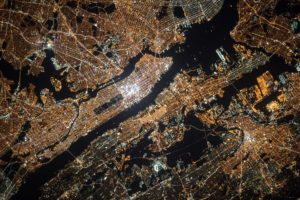 Aerial Image of New York lights