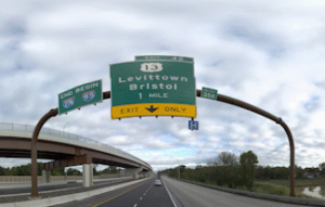 Vehicle POV of sign panel and sign structure on Pennsylvania highway