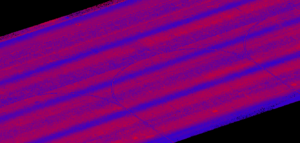 Lidar point cloud visualization of a Dyess Air Force Base runway
