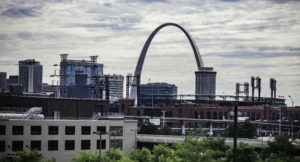 cityscape and the Gateway Arch in St. Louis, MO
