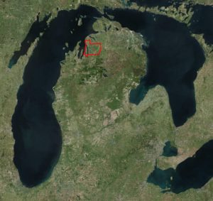 Michigan map with Antrim County highlighted.
