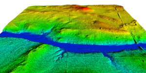 Lidar point cloud visualizing a river and natural scene at Aztalan State Park, Wisconsin