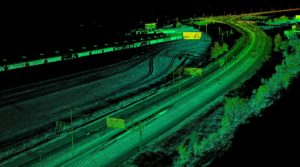"Lidar point cloud visualizing busy ""Can of Worms"" interchange in Duluth, MN."