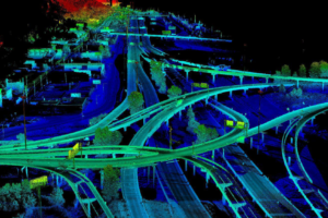 """Lidar point cloud visualizing busy """"Can of Worms"""" interchange in Duluth, MN."""