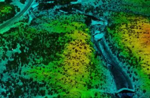 Lidar point cloud visualizing river, canyon, and forests.