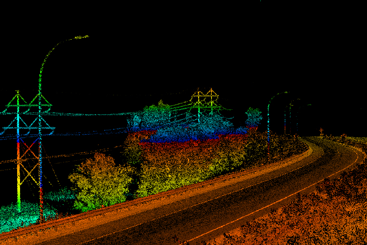 Lidar point cloud visualizing highway with powerlines and light poles running parallel in Minneapolis, MN.
