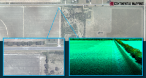 Graphic depicted aerial image of a field with 2 pop out rectangles showing a zoomed in aerial shot and the other showing a close up lidar point cloud.