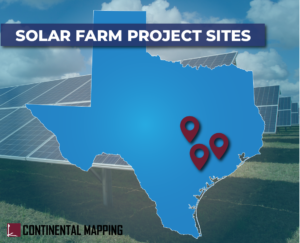 Texas outline with 3 map points in South Eastern part of state. Title of: Solar Farm Project Sites