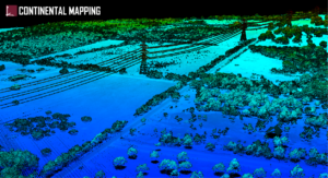 Lidar point cloud visualizing Texas landscape with powerlines, trees, vegetation, and a road.